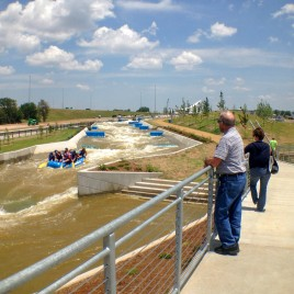 Checking out the unprecedented white water rapids training facility near Bricktown.